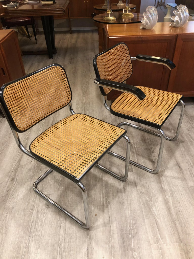 1960s Marcel Breuer for Gavina Woven Straw Steel Tubular Black Chairs, Set of 8 For Sale 3