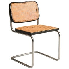 1960s Marcel Breuer for Gavina Woven Straw Steel Tubular Black Chairs, Set of 8