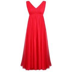 1960s Mardi Gras By Levino Verna Red Silk Chiffon Empire Line Gown