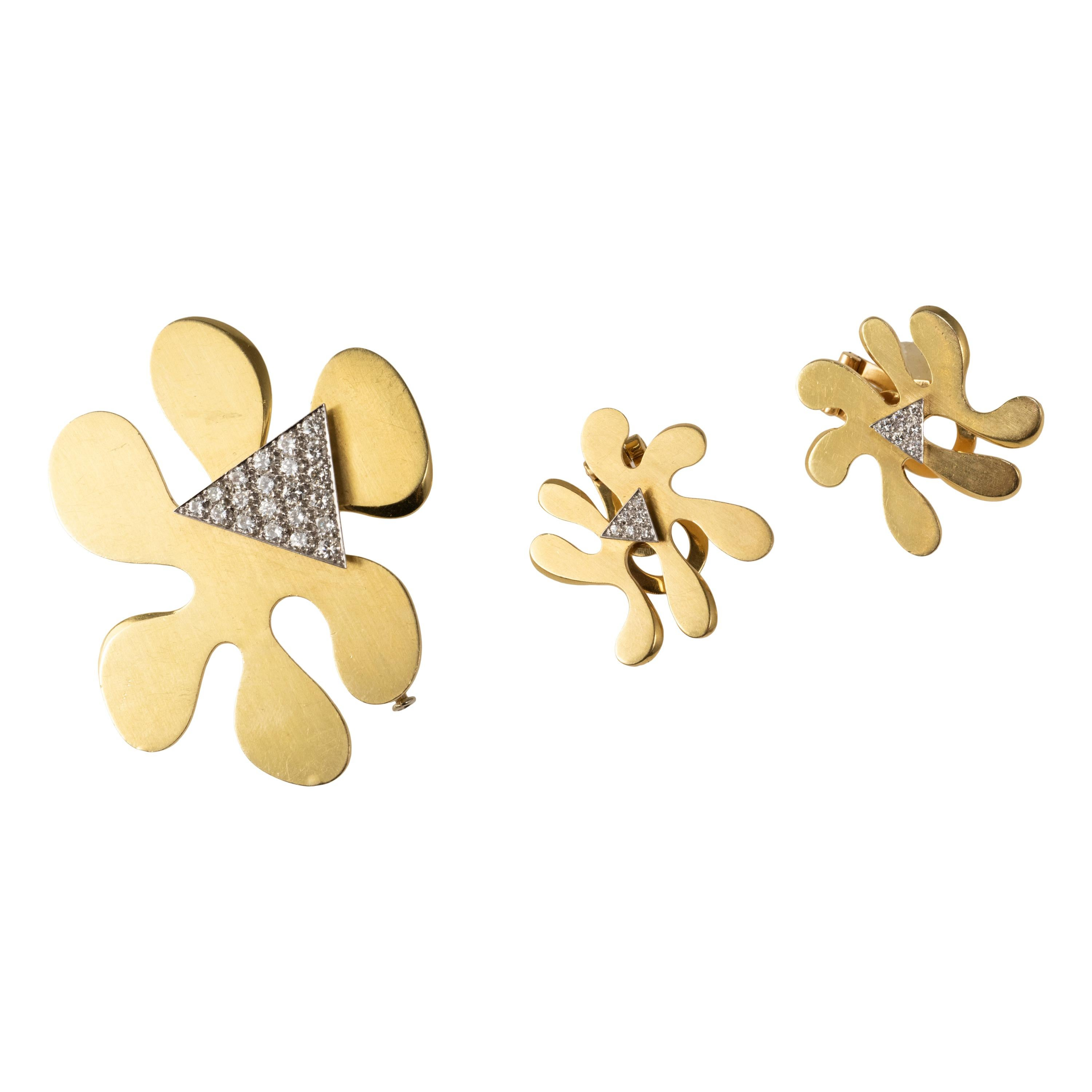 1960s Marianne Ostier Ear Clips and Brooch Set