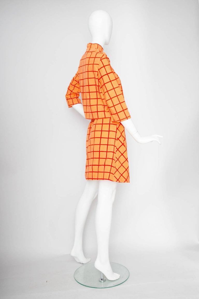 Orange 1960s Marimekko Cotton Color Block Ensemble XS For Sale