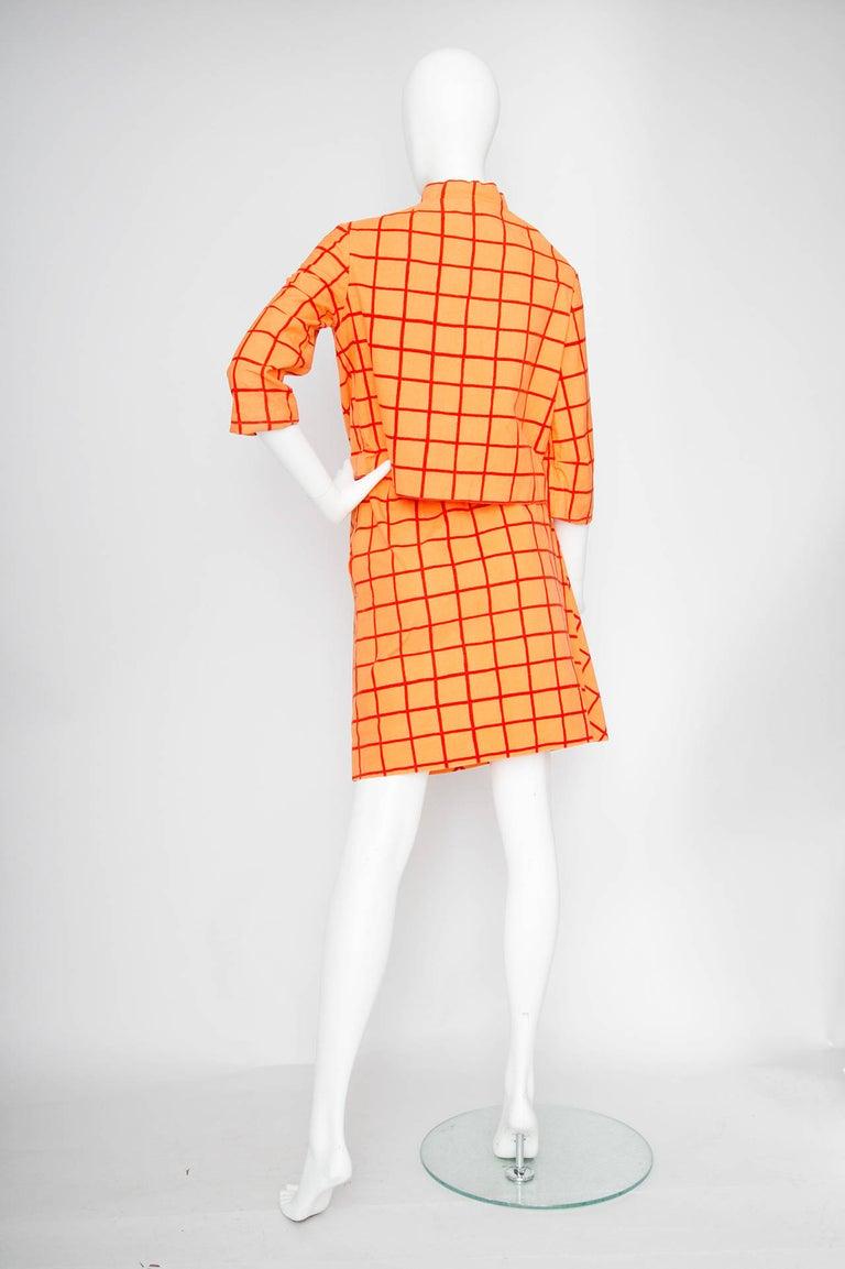 1960s Marimekko Cotton Color Block Ensemble XS In Fair Condition For Sale In Copenhagen, DK