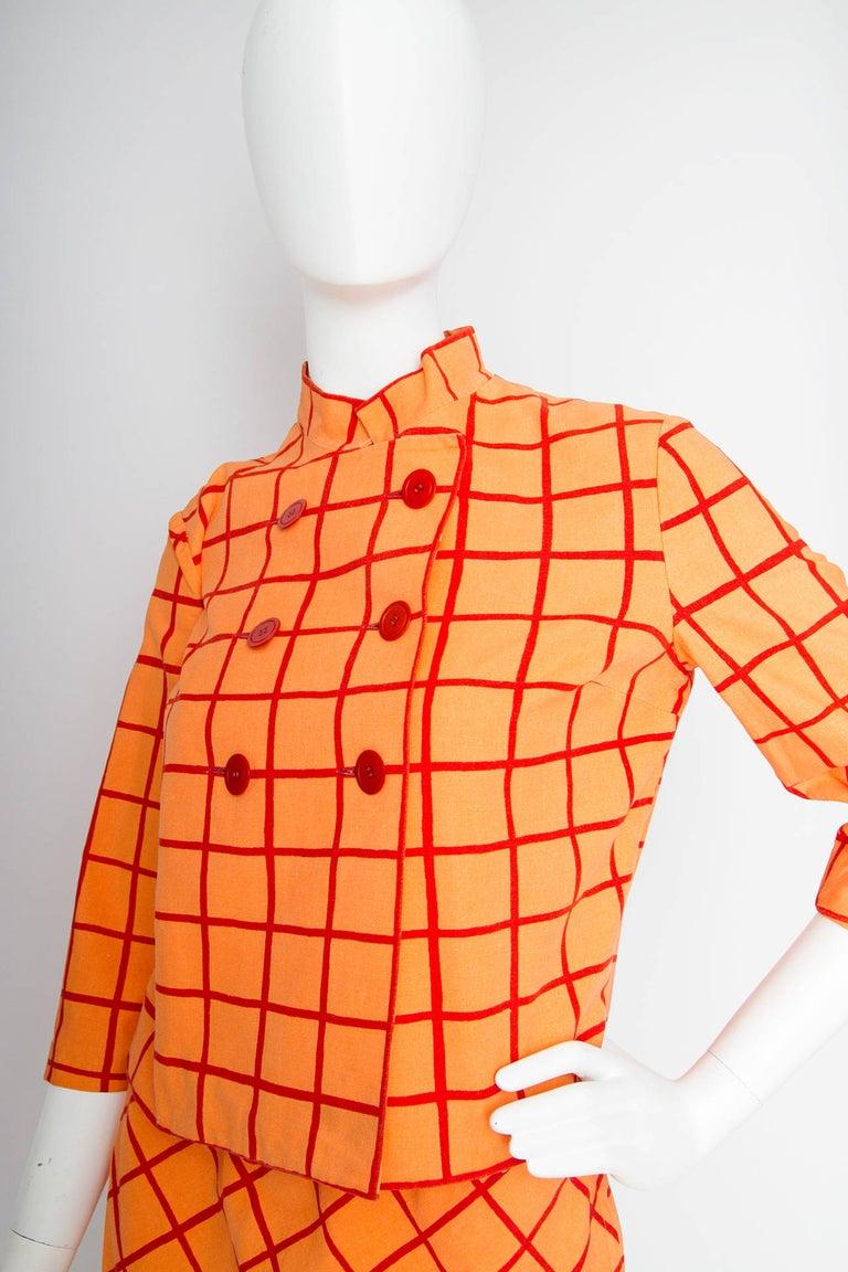 Women's 1960s Marimekko Cotton Color Block Ensemble XS For Sale