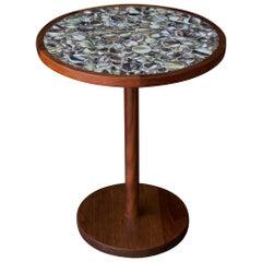 1960s Martz Table Walnut Brush Glazed Round Tiles CabinModern Studio Craft