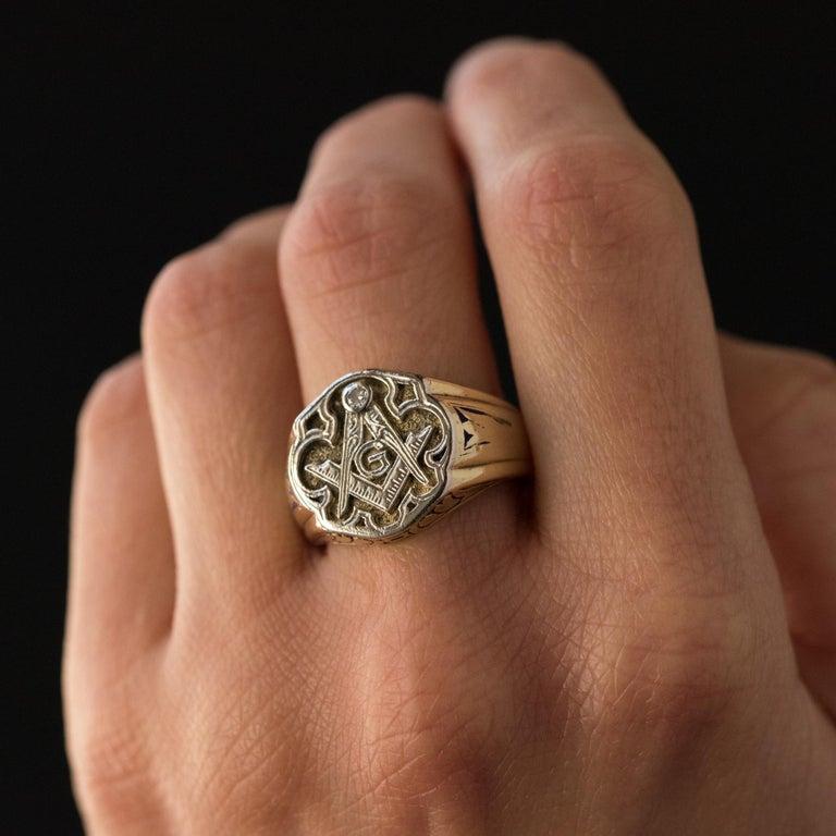 1960s Masonic Yellow Gold Platinum Signet Man Ring For Sale 6