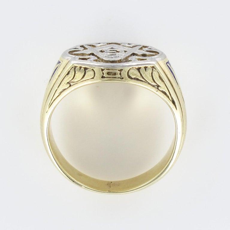1960s Masonic Yellow Gold Platinum Signet Man Ring For Sale 11