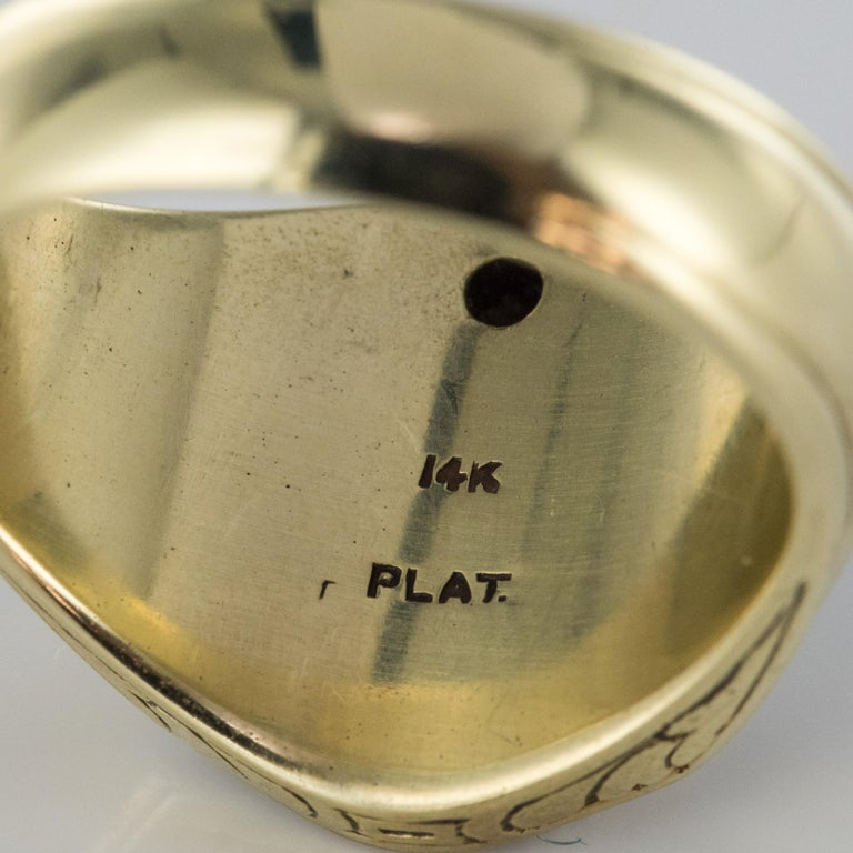 1960s Masonic Yellow Gold Platinum Signet Man Ring For Sale 12