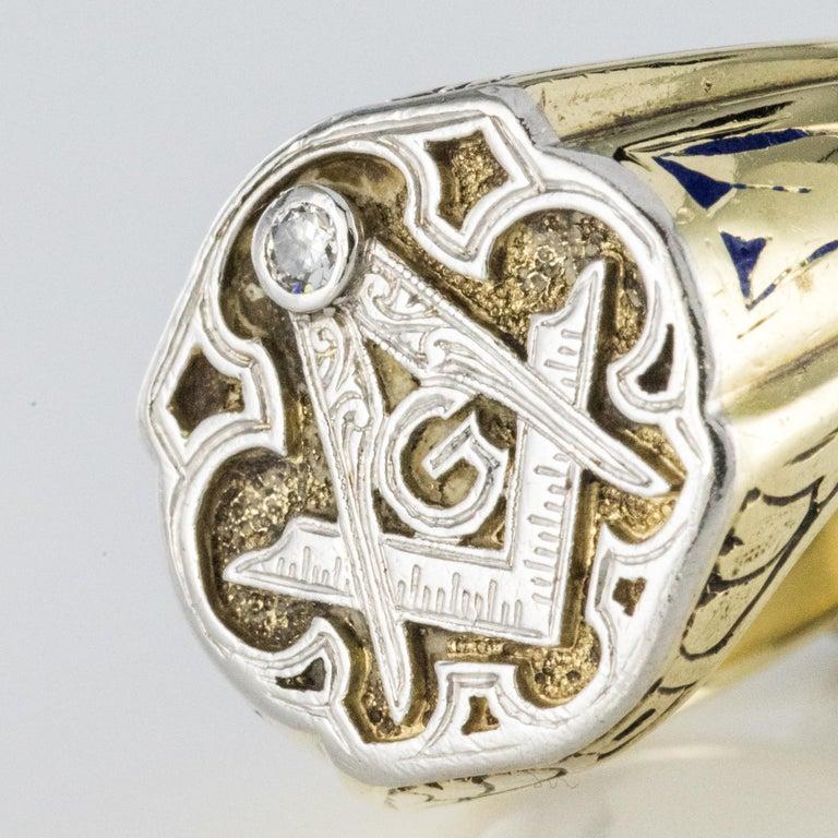Men's 1960s Masonic Yellow Gold Platinum Signet Man Ring For Sale