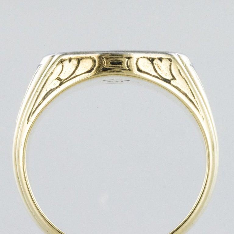 1960s Masonic Yellow Gold Platinum Signet Man Ring For Sale 3
