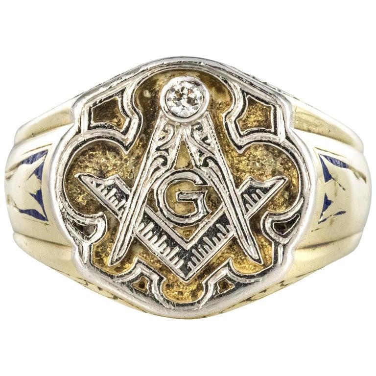 1960s Masonic Yellow Gold Platinum Signet Man Ring For Sale