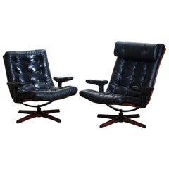 1960s Matching Pair of Black Leather Swivel Chairs by Gote Design Nassjo Sweden
