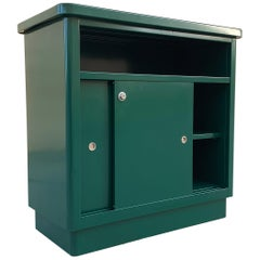 1960s McDowell Craig Steel Tanker Office Cabinet Refinished in Forest Green