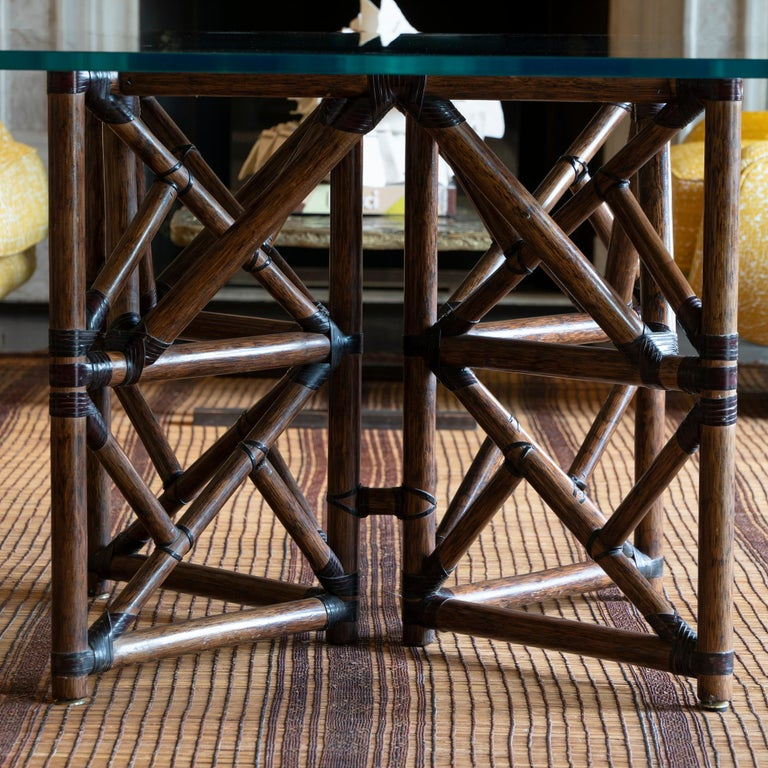 1960s McGuire Dining Table, Rattan and Leather Base with Square Glass Top For Sale 5