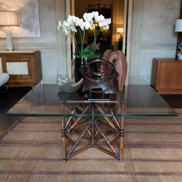 1960s McGuire Dining Table, Rattan and Leather Base with Square Glass Top For Sale 6