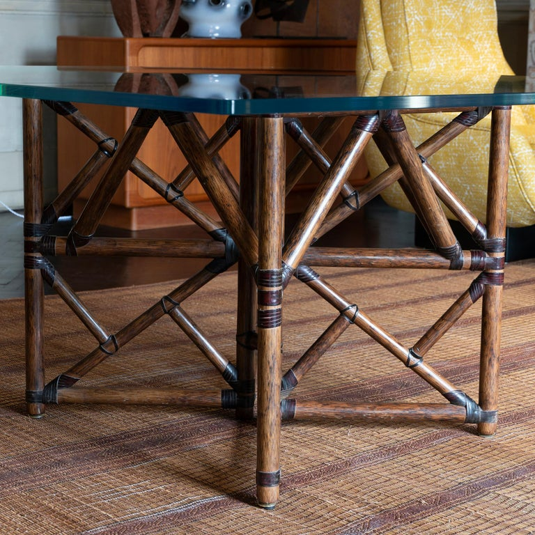Mid-Century Modern 1960s McGuire Dining Table, Rattan and Leather Base with Square Glass Top For Sale