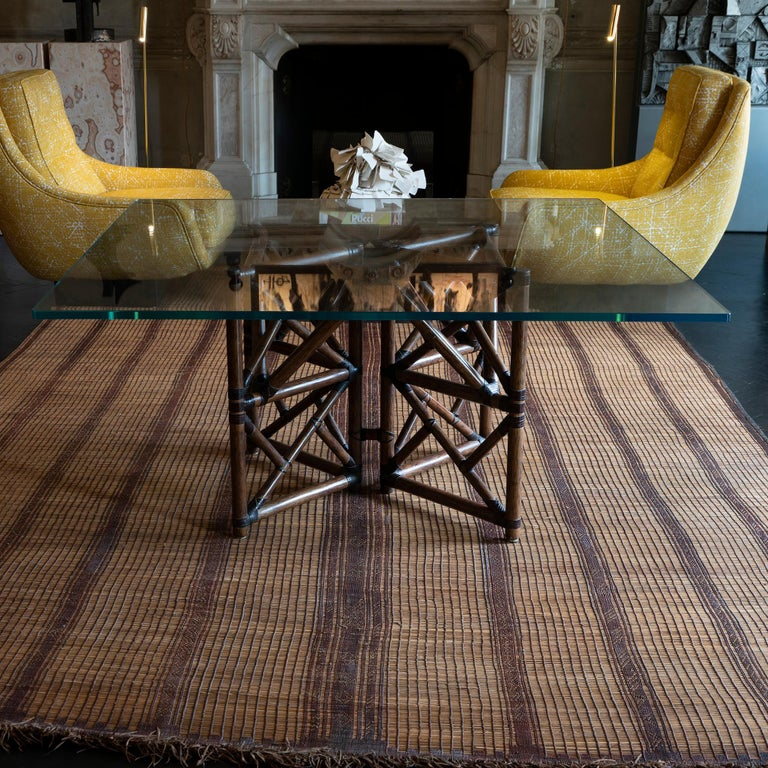 1960s McGuire Dining Table, Rattan and Leather Base with Square Glass Top For Sale 1