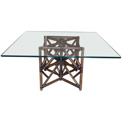 1960s McGuire Dining Table, Rattan and Leather Base with Square Glass Top
