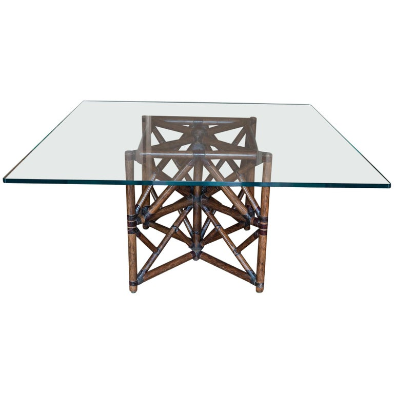 1960s McGuire Dining Table, Rattan and Leather Base with Square Glass Top For Sale