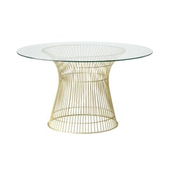 Gilded Iron and Glass Round Dining Pedestal Table