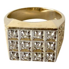 1960s Men's 14 Karat Gold Diamond Signet Ring