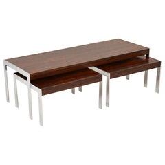 1960s Merrow Associates Wood and Chrome Nesting Coffee Table