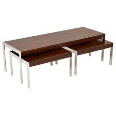 1960s Merrow Associates Wood and Chrome Nesting Coffee Table