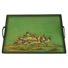 1960's Metal and Fiberglass Serving Tray with Quail Fowl Drawings