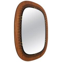 1960s Metal and Teak Mirror Designed by Josef Frank for Svenskt Tenn, Sweden