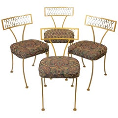 1960s Metal Art Klismos Patio Chair Set