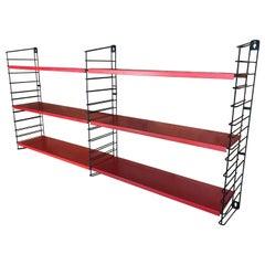 1960s Metal Black Ladders Red Modular Tomado Wall Unit Designed by A. Dekker