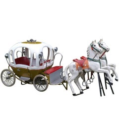 1960s Metal Carousel Cinderella Carriage by L' Autopède Belgium with Two Horses
