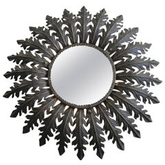 1960s Metal Wall Mirror Illuminated on the Backside Brutalist Industrial Design