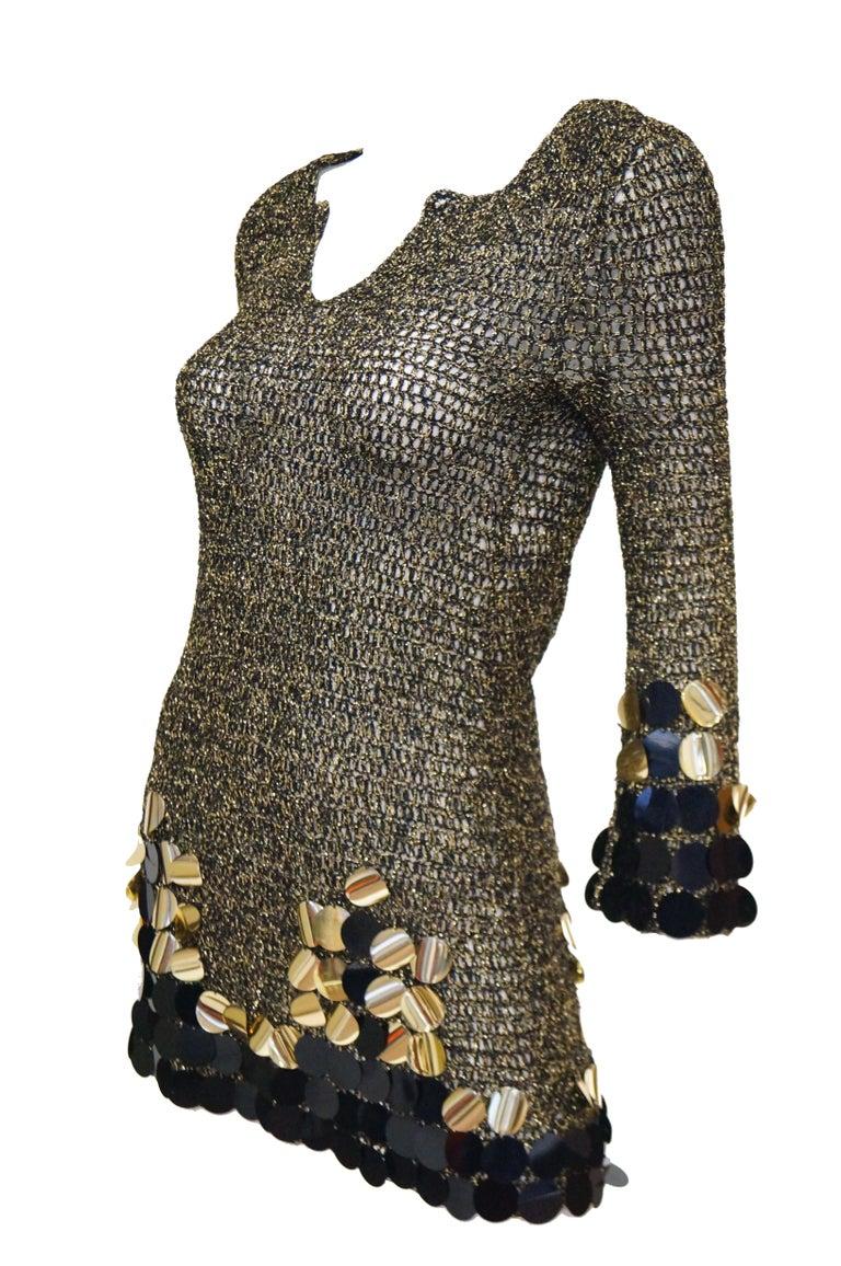 1960s Metallic Gold and Black Knit Wear Mini Dress For Sale 6