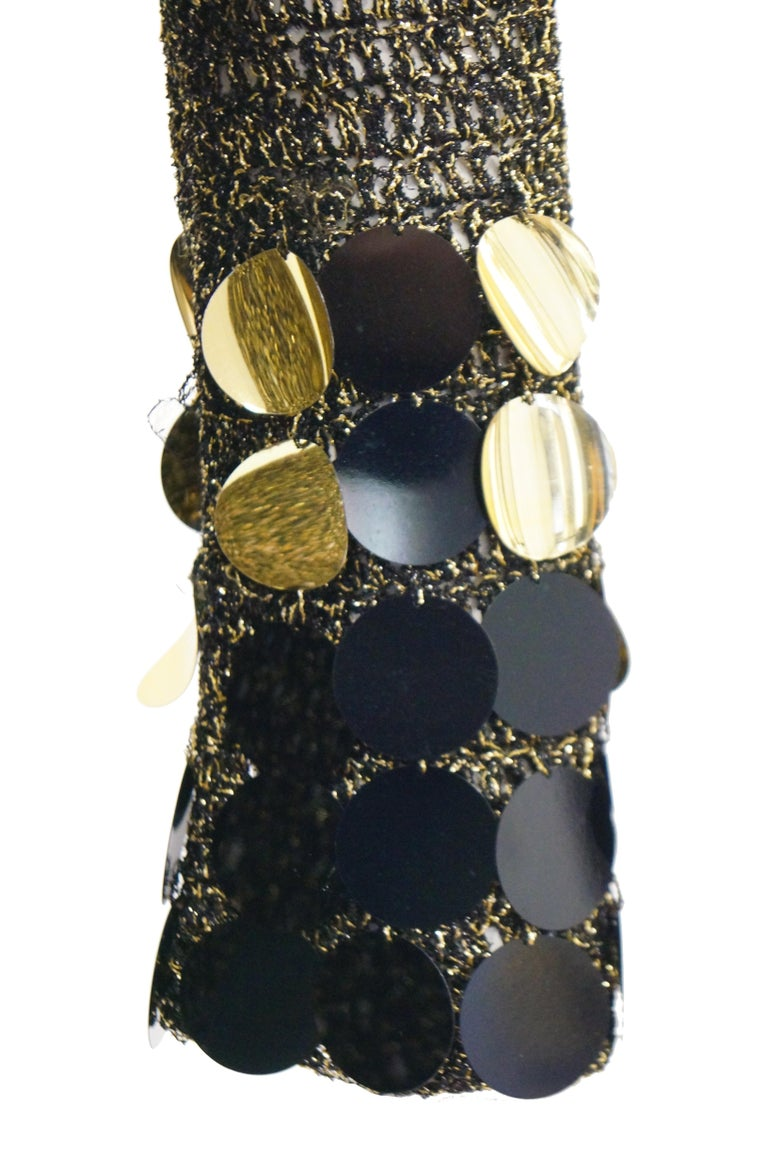 1960s Metallic Gold and Black Knit Wear Mini Dress In Excellent Condition For Sale In Houston, TX