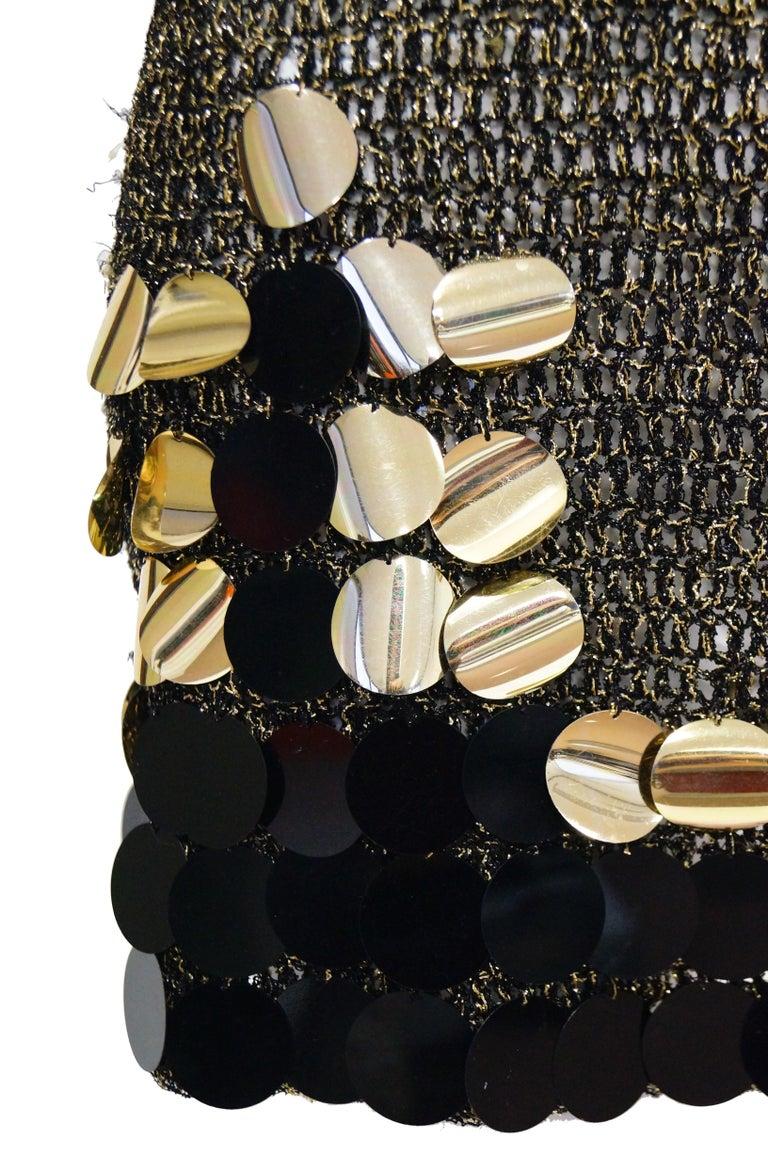 Women's 1960s Metallic Gold and Black Knit Wear Mini Dress For Sale
