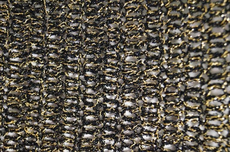 1960s Metallic Gold and Black Knit Wear Mini Dress For Sale 1