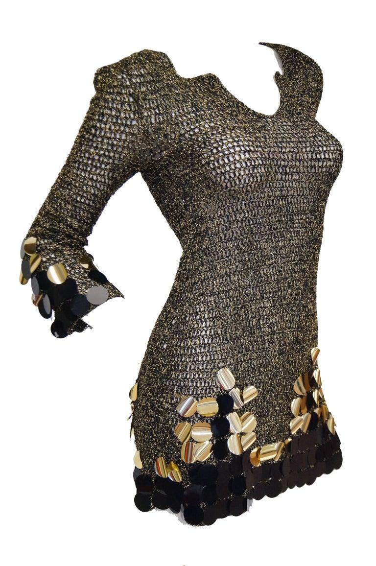 1960s Metallic Gold and Black Knit Wear Mini Dress For Sale 2