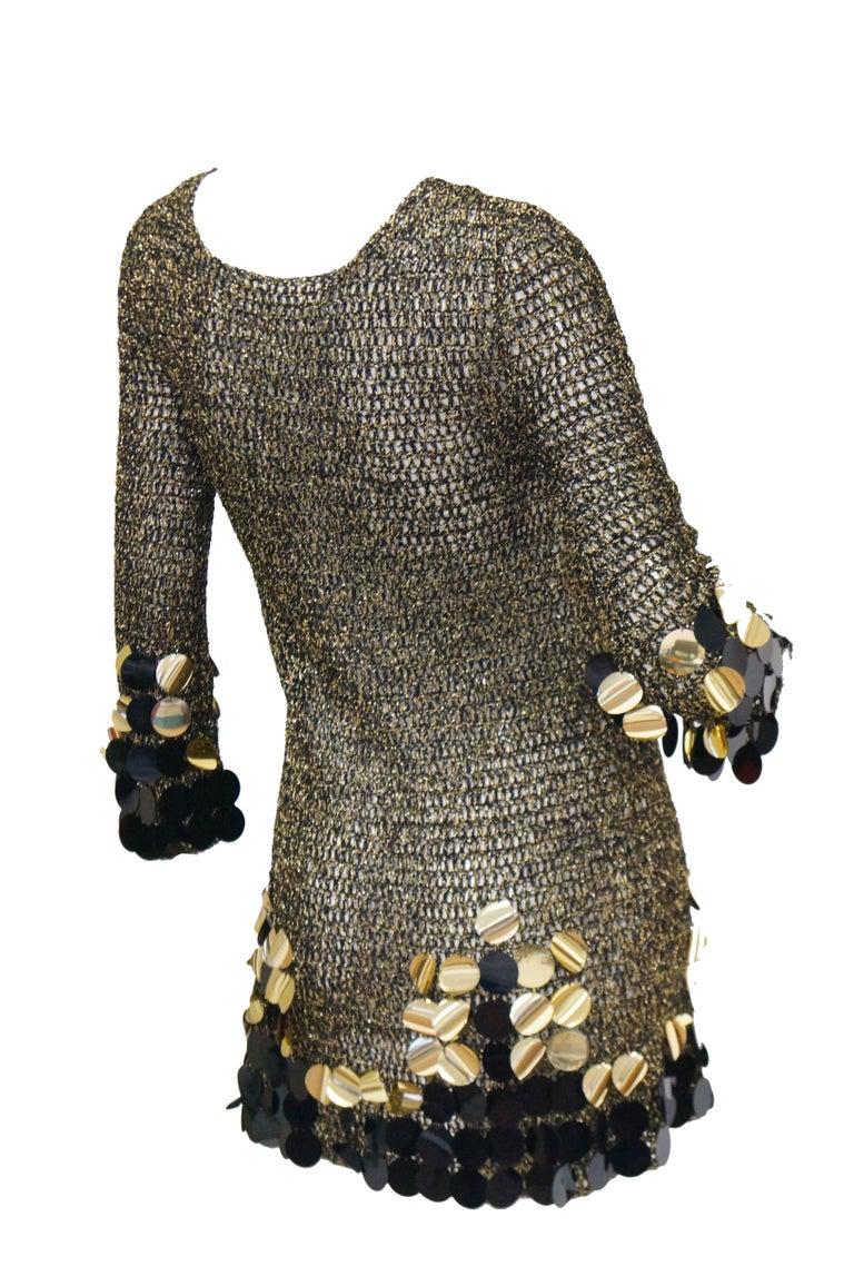1960s Metallic Gold and Black Knit Wear Mini Dress For Sale 3