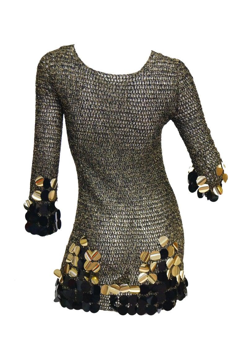 1960s Metallic Gold and Black Knit Wear Mini Dress For Sale 4