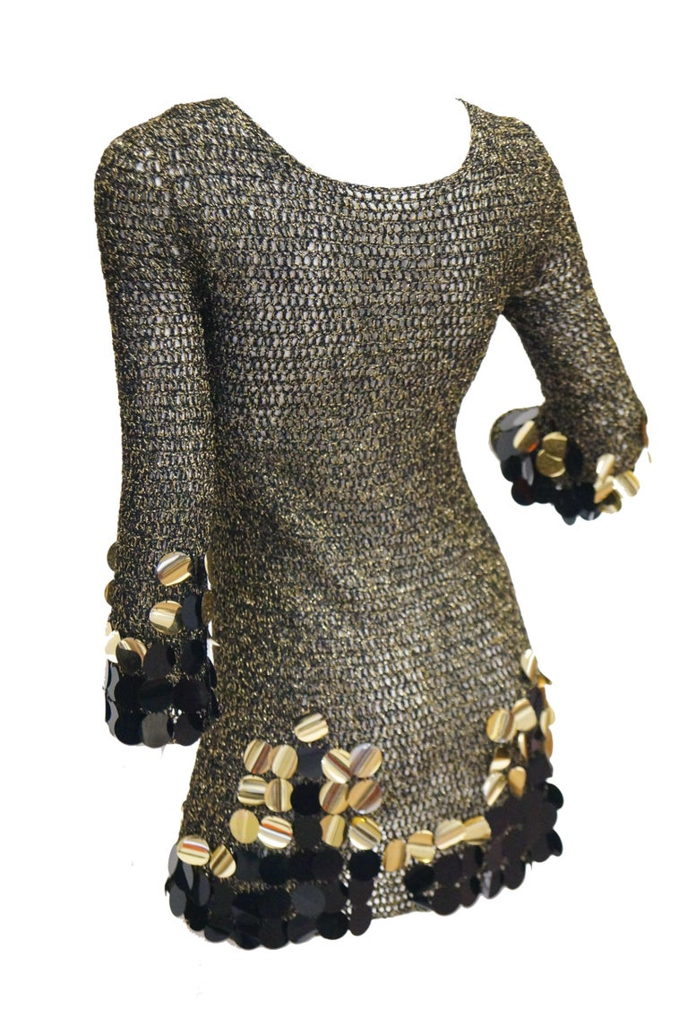 1960s Metallic Gold and Black Knit Wear Mini Dress For Sale 5