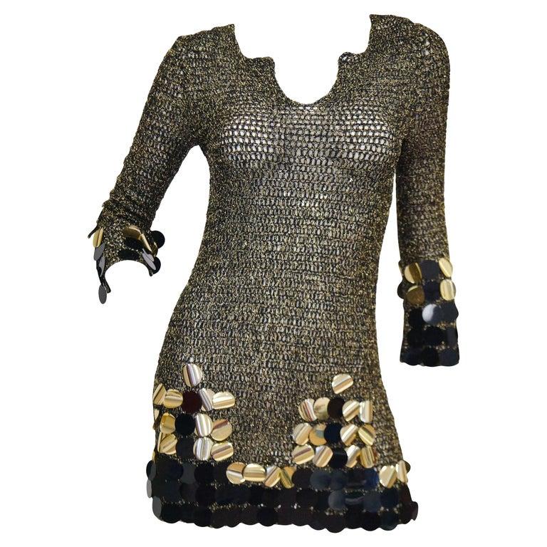 1960s Metallic Gold and Black Knit Wear Mini Dress For Sale
