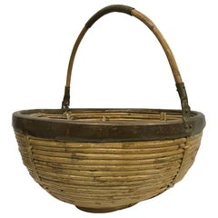 1960s Mexican Hand Carry Woven Wicker Cane Basket with Patinated Brass Trim