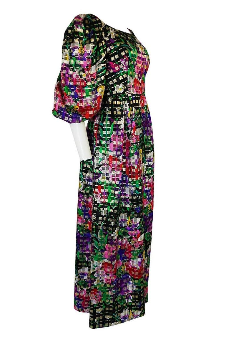 Black 1960s Michael Novarese Floral Ribbon Print Metallic Silk Dress For Sale