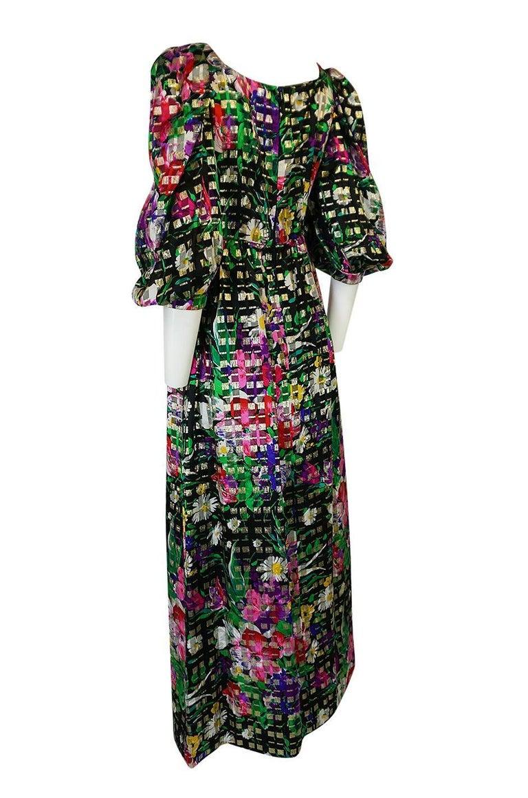 Women's 1960s Michael Novarese Floral Ribbon Print Metallic Silk Dress For Sale