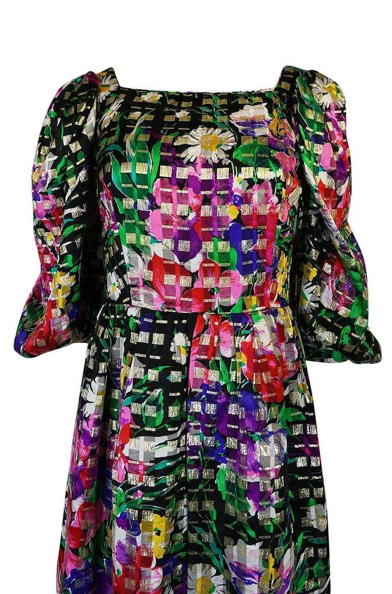1960s Michael Novarese Floral Ribbon Print Metallic Silk Dress For Sale 1