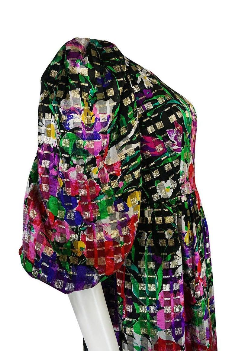 1960s Michael Novarese Floral Ribbon Print Metallic Silk Dress For Sale 2