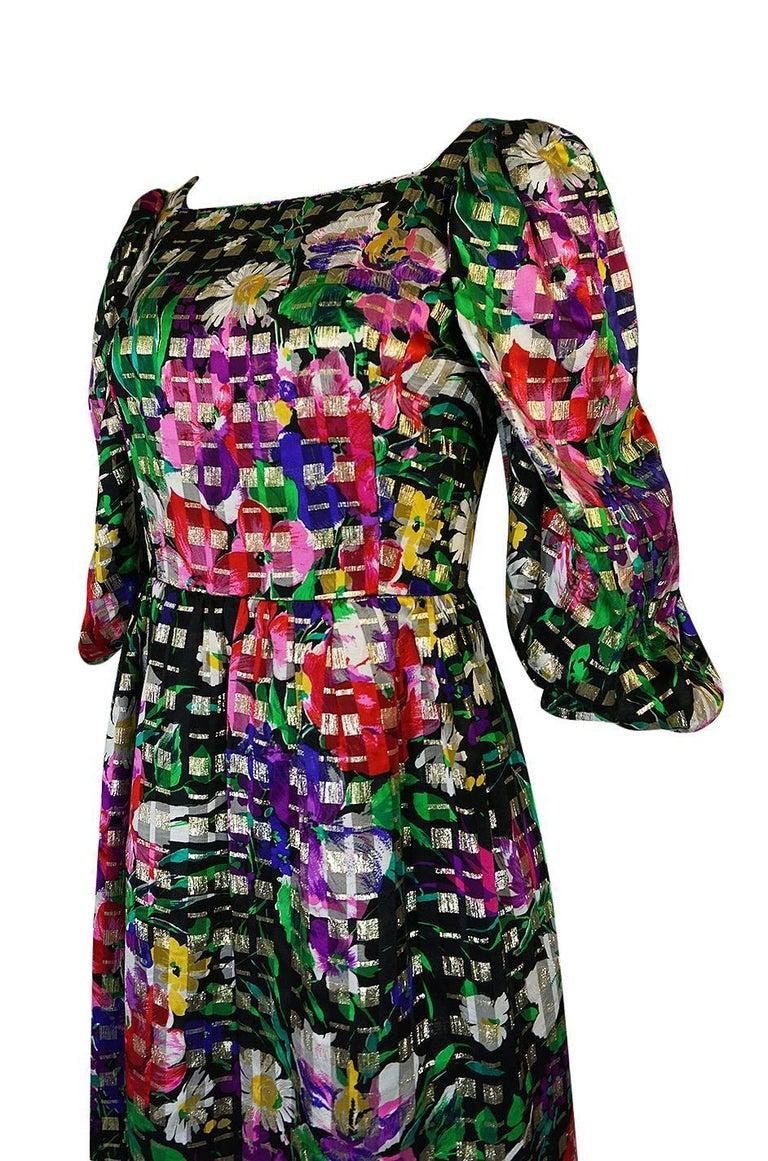 1960s Michael Novarese Floral Ribbon Print Metallic Silk Dress For Sale 3