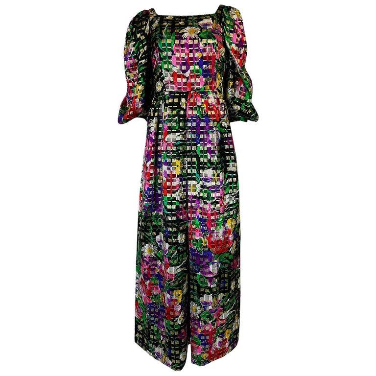 1960s Michael Novarese Floral Ribbon Print Metallic Silk Dress For Sale