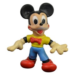 1960s Mickey Mouse Rubber Squeak Toy Doll Walt Disney Productions