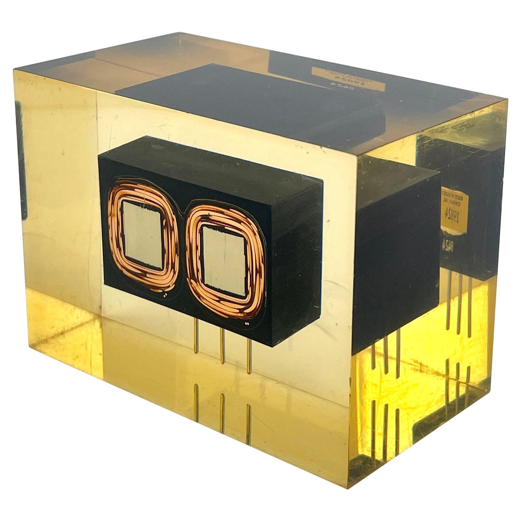 1960s Microchip Lucite Paperweight Vintage Retro Tech Sculpture MCM Anachronism